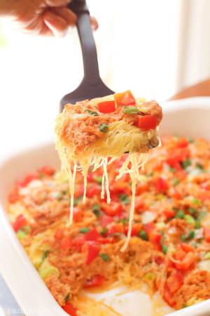 Spaghetti Squash Buffalo Chicken Bake