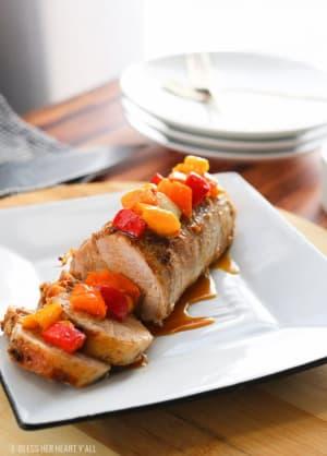 Garlic Honey Pork Tenderloin + Sweet Bell Pepper Salsa