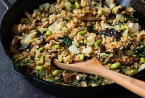 Ginger-Lime Fried Rice With Bok Choy & Mushrooms