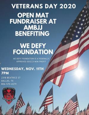 Open Mat Fundraiser At AMBJJ Benefiting We Defy Foundation