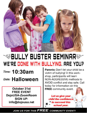 RISE ABOVE Bullying FREE community workshop!  (October Bullying Awareness Month)