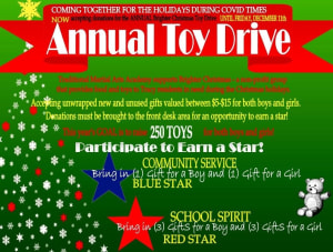 Annual brighter Christmas toy drive.