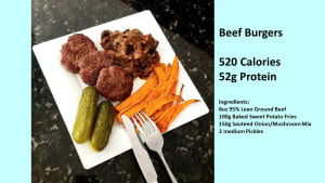Beef Burgers and Fries (healthy nutrition)