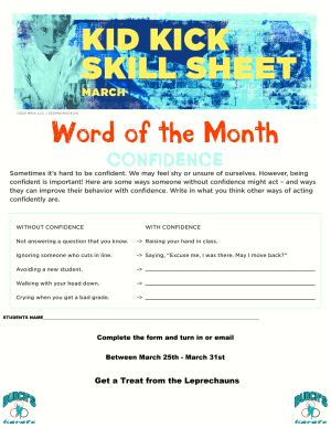 March Word of the Month Sheet