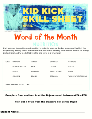 April 2021 Word of the Month Worksheet