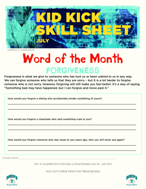 July 2021 Word of the Month Worksheet