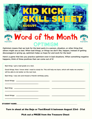 August 2021 Word of the Month Worksheet