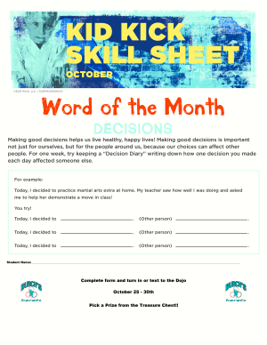 October 2021 Word of the Month Worksheet