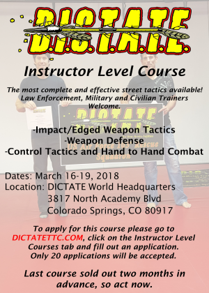 in Colorado Springs  - Dictate Tactical Training Center - DICTATE Level 1 Instructor Course