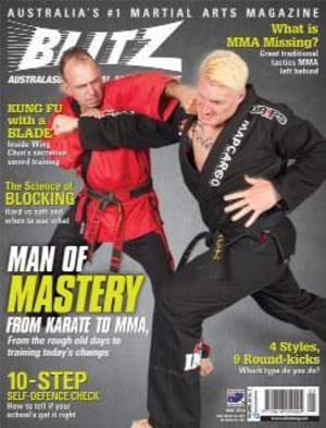 Kids Karate in Prestons and Liverpool - IMC Liverpool - Shihan Paul on the Cover of Blitz Magazine