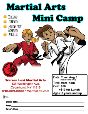 Kids Martial Arts  in Five Towns - Warren Levi Martial Arts & Fitness - FIVE TOWNS TISHA B-AV CAMP