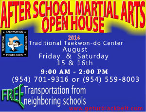 Kids Martial Arts in Davie and Cooper City - Traditional Taekwon-Do Center Of Davie - 2014 After School Martial Arts Open House - Kids Martial Arts in Davie