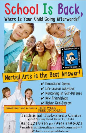 Kids Martial Arts in Davie and Cooper City - Traditional Taekwon-Do Center Of Davie - Davie Cooper City and the Hollywood areas are gearing up for Back To School