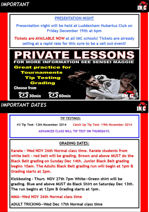 Kids Karate in Prestons and Liverpool - IMC Liverpool - November Newsletter