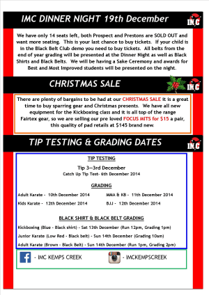 Kids Martial Arts  in St Clair, Kemps Creek & Hoxton Park - International Martial Arts Centres - IMC News 26th Novermber 2014