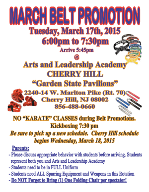 Kids Martial Arts in Cherry Hill - Arts and Leadership Academy - March Belt Promotion Cherry Hill Academy