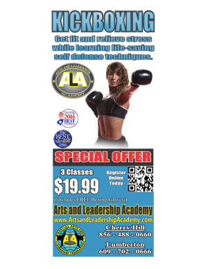 Kids Martial Arts in Cherry Hill - Arts and Leadership Academy - ALL NEW Early Evening KICKBOXING Classes
