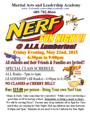 Kids Martial Arts in Cherry Hill - Arts and Leadership Academy - Nerf Fun Night