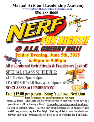 Kids Martial Arts in Cherry Hill - Arts and Leadership Academy - Nerf Fun Night Cherry Hill