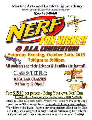 Kids Martial Arts in Cherry Hill - Arts and Leadership Academy - NERF NIGHT