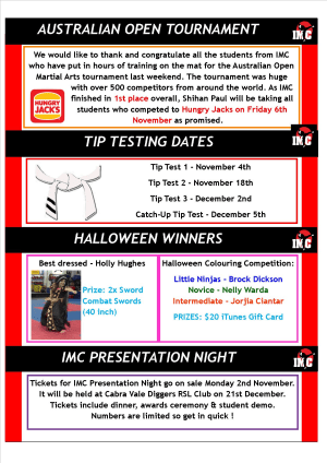 Kids Martial Arts  in St Clair, Kemps Creek & Hoxton Park - International Martial Arts Centres - IMC News 29th November 2015