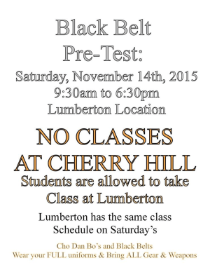 Kids Martial Arts in Cherry Hill - Arts and Leadership Academy - FALL 2015 BLACK BELT PRE TEST