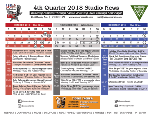 in Pittsburgh - USA Professional Karate Studio - 4th Quarter Calendar