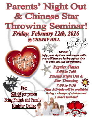Kids Martial Arts in Cherry Hill - Arts and Leadership Academy - Valentine Day Night Out and Chinese Star Throwing Seminar