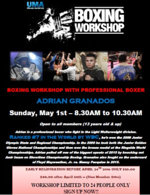 Boxing Workshop May 1st