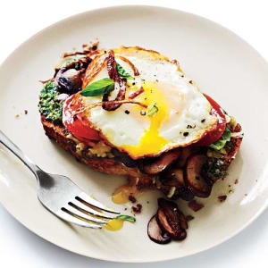 Personal Training in Concord - Individual Fitness - Healthy Mother's Day Brunch - Open Faced Sandwich with Mushroom & Fried Eggs