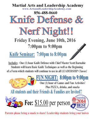 Kids Martial Arts in Cherry Hill - Arts and Leadership Academy - Knife Defense Seminar and Nerf Night