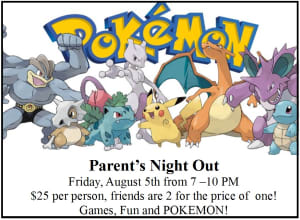 Kids Martial Arts in Bradenton - Ancient Ways Martial Arts Academy - Upcoming Parent's Night Out - Pokemon