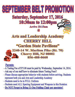 Kids Martial Arts in Cherry Hill - Arts and Leadership Academy - SEPTEMBER BELT PROMOTION