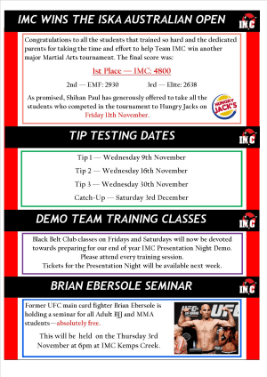 Kids Martial Arts  in St Clair, Kemps Creek & Hoxton Park - International Martial Arts Centres - IMC News 2nd November 2016