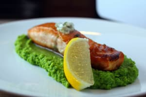 Personal Training in Concord - Individual Fitness - Seared Salmon on Herb Mashed Peas