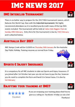Kids Martial Arts  in St Clair, Kemps Creek & Hoxton Park - International Martial Arts Centres - IMC News 12th January 2017