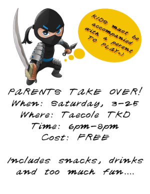 Kids Martial Arts in Albertson - Taecole Tae Kwon Do & Fitness - Parent Take Over!!