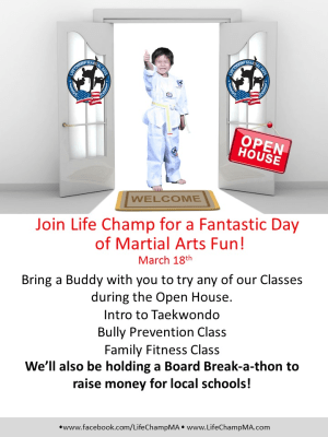 Kids Martial Arts in Woodbridge - Life Champ Martial Arts - Open House Party at Life Champ Martial Arts of Lorton, Reston, & Kingstowne! March 18th, 2017