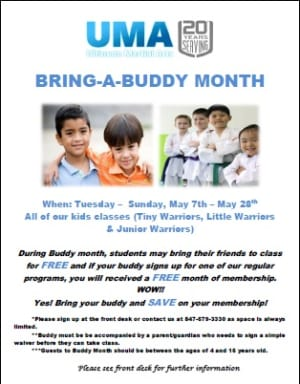 Kids Martial Arts in Chicago - Ultimate Martial Arts - Buddy Month Taekwondo