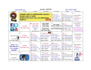 in Albertson - Taecole Tae Kwon Do & Fitness - June 2017 Class Schedule