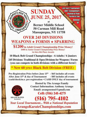 Kids Martial Arts in Baldwin - OMMA Karate - TOURNAMENT FLYER Sunday June 25th, 2017