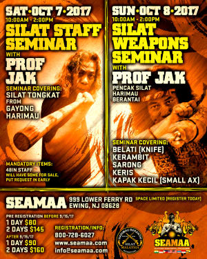 Kids Martial Arts in Ewing - Southeast Asian Martial Arts Academy (SEAMAA) - SILAT STAFF & SILAT WEAPONS SEMINAR (Oct 7 & 8)