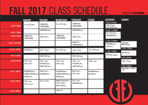 New Kickboxing program and instructor + Fall Schedule Changes