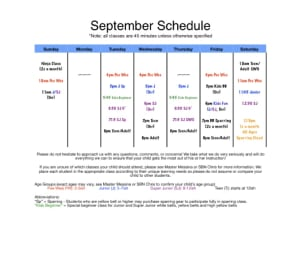 in Albertson - Taecole Tae Kwon Do & Fitness - 2017 Fall  schedule