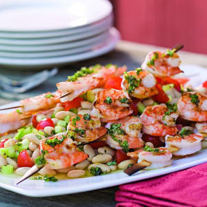 Recipe Of The Week: Grilled Shrimp Skewers over White Bean Salad