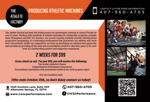 Sports Performance Training in Altamonte Springs - The Athlete Factory - Come Check Us out for Just $99!
