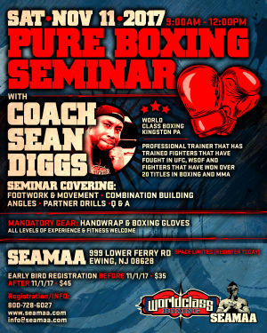 in Ewing - Southeast Asian Martial Arts Academy (SEAMAA) - PURE BOXING SEMINAR with COACH SEAN DIGGS