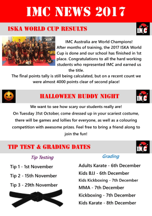 Kids Martial Arts  in St Clair, Kemps Creek & Hoxton Park - International Martial Arts Centres - IMC News 27th October 2017