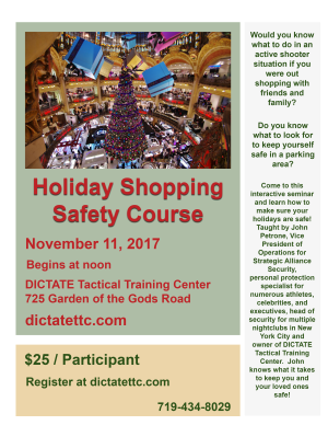 in Colorado Springs  - Dictate Tactical Training Center - Holiday Shopping Safety Course
