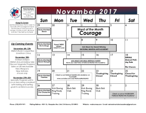 Kids Martial Arts  in Aurora - National Martial Arts Academy - November Calendar